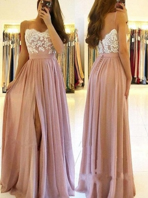 Elegant Side-Slit A-Line Evening Dresses   Spaghetti Straps Lace Appliques Prom Dresses_1