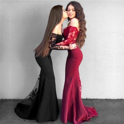 Red Lace Prom Dress 2019   Long Mermaid Party Gowns_4