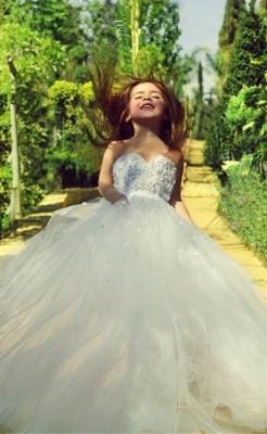 Sweet White Sweetheart Lace Flower Girl Dress   A-Line Tulle Long Sleeveless Dresses for Girls BA5056_2