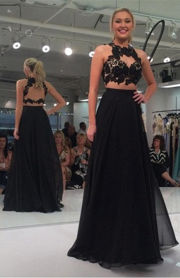 Sleeveless Two-Piece Sexy Black Lace-Appliques A-line Prom Dress_2