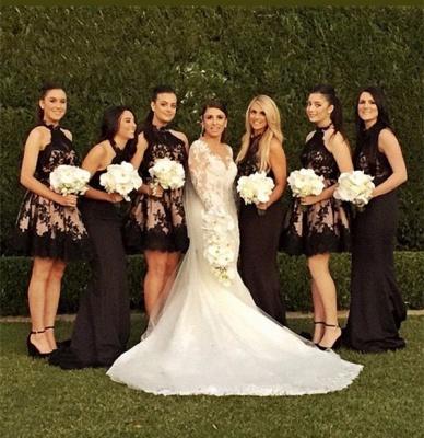 Halter Applique Short Sleeveless High-Neck A-Line Bridesmaid Dresses_3