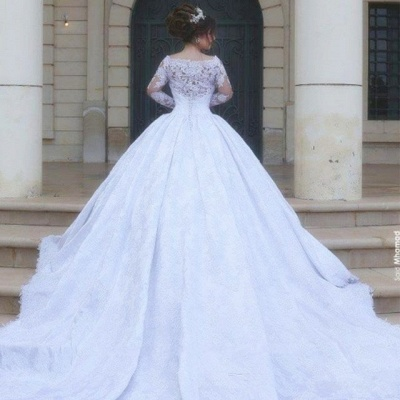 Arabic Ball-Gown White Long Sleevess Lace Tulle Wedding Dress_4