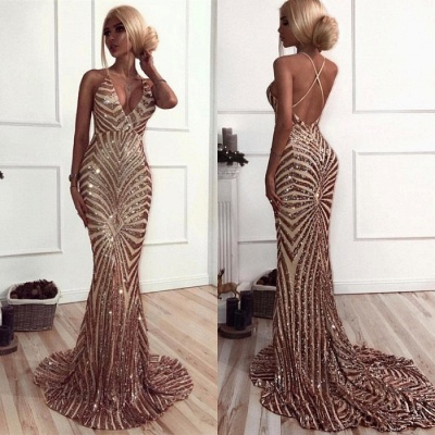 Sexy Sequins Mermaid Prom Dresses | V-Neck Crisscross Back Evening Gowns_3