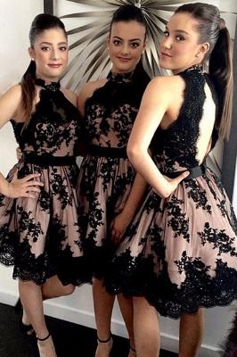 Halter Applique Short Sleeveless High-Neck A-Line Bridesmaid Dresses_2