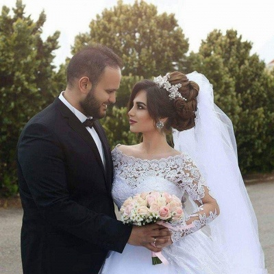 Arabic Ball-Gown White Long Sleevess Lace Tulle Wedding Dress_5