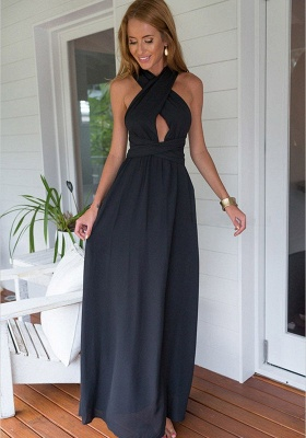 Simple Black Party Dresses Criss Cross Top Chiffon Summer Formal Dresses_2