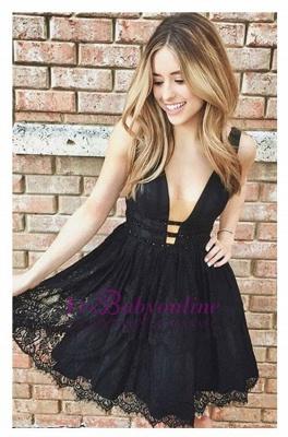 Sleeveless Short Lace Sexy Deep-V-Neck Black Homecoming Dresses_1