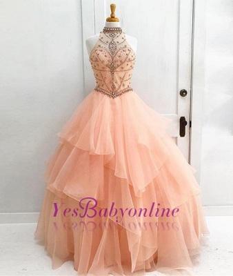 Beading High Neck Elegant Ball Gown Sleeveless Dresses Prom Evening Dresses_1