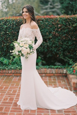 Simple Styl Long Jewel Long Sleeve Lace Mermaid Wedding Dresses | Beaded Wedding Gown_3
