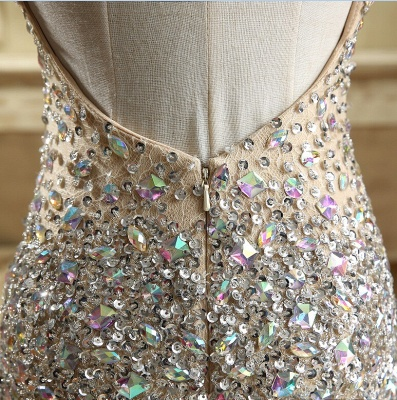 Luxury Crystals Mermaid Prom Dresses   Straps Open Back Evening Dress_6