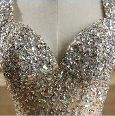 Luxury Crystals Mermaid Prom Dresses   Straps Open Back Evening Dress_5