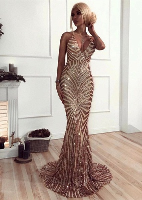 Sexy Sequins Mermaid Prom Dresses | V-Neck Crisscross Back Evening Gowns_1