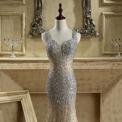 Luxury Crystals Mermaid Prom Dresses   Straps Open Back Evening Dress_4