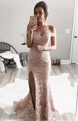 Sexy Lace Mermaid Prom Dresses Off-the-Shoulder Side Slit Evening Gowns_2