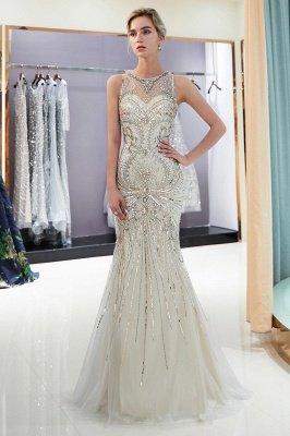 Mermaid Round Neck Sleeveless Keyhole Back Beaded Prom Dress | Evening Dress 2019_5