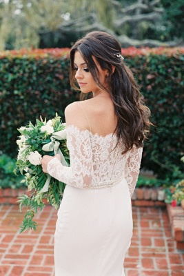 Simple Styl Long Jewel Long Sleeve Lace Mermaid Wedding Dresses | Beaded Wedding Gown_2