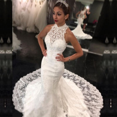 Newest Sweep-Train Mermaid Sleeveless High-Neck Lace Wedding Dress_3
