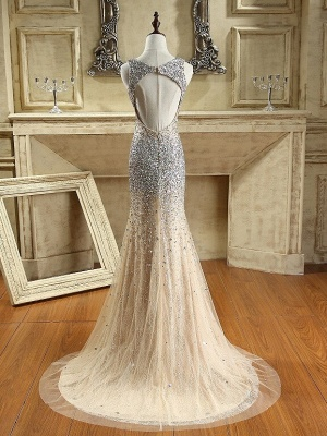 Luxury Crystals Mermaid Prom Dresses   Straps Open Back Evening Dress_3