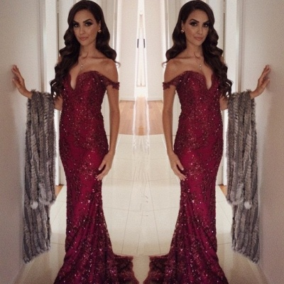 Burgundy Long Off-the-Shoulder Appliques Mermaid Prom Dress_3