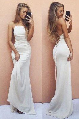 Backless Mermaid Sleeveless White Spaghetti-Strap Sexy Prom Dress_2