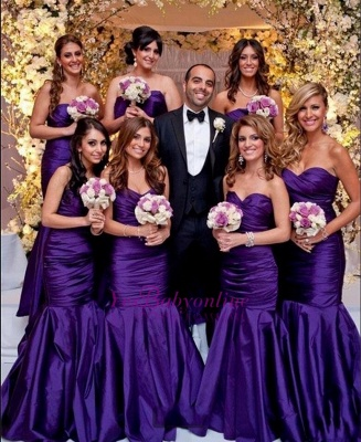 Modern Long Mermaid Purple Sweetheart Bridesmaid Dresses_1