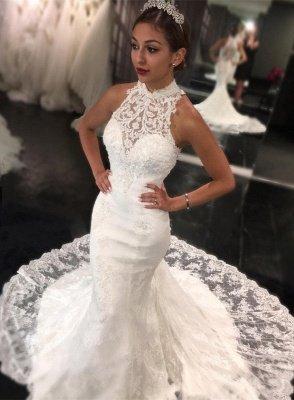 Newest Sweep-Train Mermaid Sleeveless High-Neck Lace Wedding Dress_2