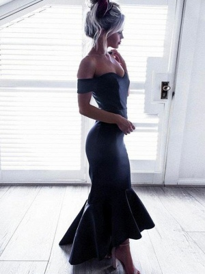 High-Low Ruffle Off-The-Shoulder Mermaid Short-Sleeves Black Chic Prom Dresses_2