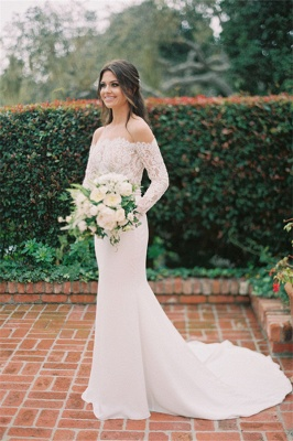 Simple Styl Long Jewel Long Sleeve Lace Mermaid Wedding Dresses | Beaded Wedding Gown