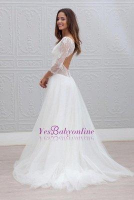 Elegant V-neck Sweep Train Backless A-line Wedding Dress_1