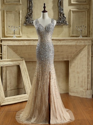 Luxury Crystals Mermaid Prom Dresses   Straps Open Back Evening Dress_1