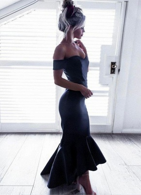 High-Low Ruffle Off-The-Shoulder Mermaid Short-Sleeves Black Chic Prom Dresses_3