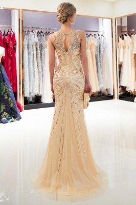 Mermaid Round Neck Sleeveless Keyhole Back Beaded Prom Dress | Evening Dress 2019_4