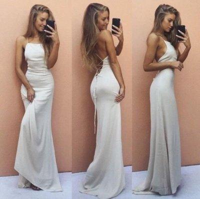 Backless Mermaid Sleeveless White Spaghetti-Strap Sexy Prom Dress_3