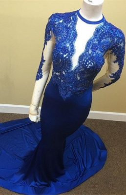 Appliques Long-Sleeve Scoop Lace Tulle Sheath Sheer Royal-Blue Prom Dress_2