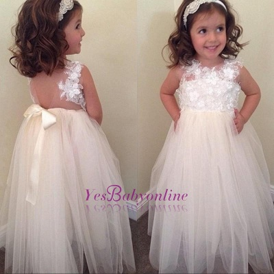Floral-Appliques A-line Cute Bowknot Floor-Length Flower-Girl-Dresses_1