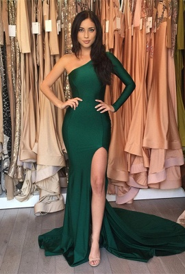 Front-Split One-Shoulder Sweep-Train Sexy Mermaid Prom Dress_1