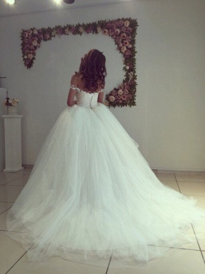 Modern Off-the-shoulder White Appliques Lace-up Lace Ball-Gown Wedding Dress_4