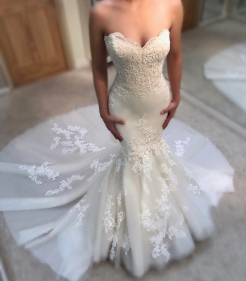 Glamorous Summer Sexy Mermaid Wedding Dresses | Sweetheart Lace Appliques Bridal Gowns_3