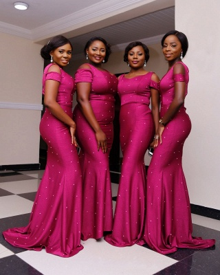 Elegant Cold Shoulder Bridesmaid Dresses | Sleeveless Mermaid Wedding Party Dresses_5