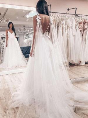 Sexy Spaghetti Strap V Neck Backless Flower Tulle Wedding Dresses_2