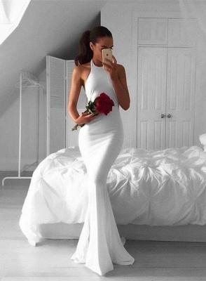 Sweep-Train White Sexy Mermaid Halter Sexy Sleeveless Prom Dress_4