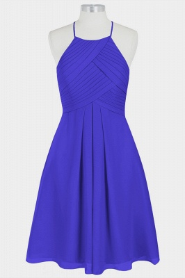 A Line Chiffon Halter Knee Length Bridesmaid Dresses with Ruffles_2