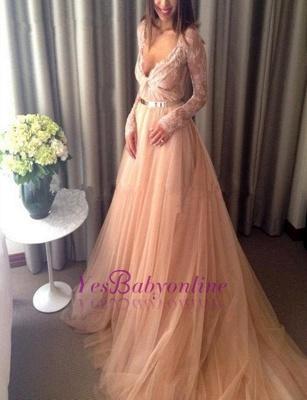 Tulle Beautiful Lace Long-Sleeve V-Neck Long Evening Dress_2