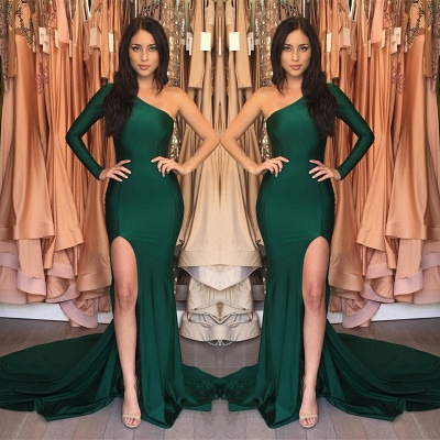 Front-Split One-Shoulder Sweep-Train Sexy Mermaid Prom Dress_3