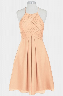 A Line Chiffon Halter Knee Length Bridesmaid Dresses with Ruffles_5