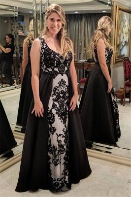 Sleeveless Black Appliques Sheath Open-Back Prom Dress_2
