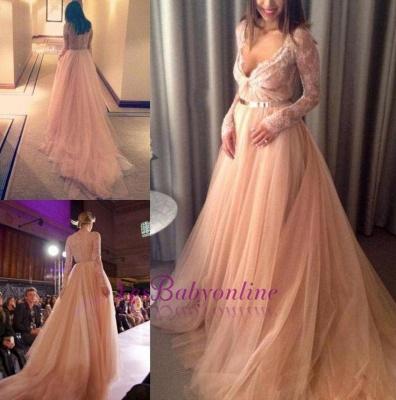 Tulle Beautiful Lace Long-Sleeve V-Neck Long Evening Dress_1