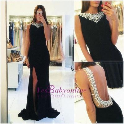 Popular Sexy Beaded Side-Slit Sheath Backless Sleeveless Black Prom Dress_1