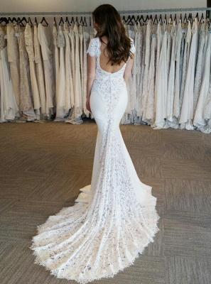 Court-Train Glamorous Mermaid Cap-Sleeves V-Neck Lace-Applique Wedding Dresses_3