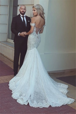 Off-the-Shoulder Sexy Mermaid Lace Wedding Dresses | Open Back Bridal Gowns  BA7275_3